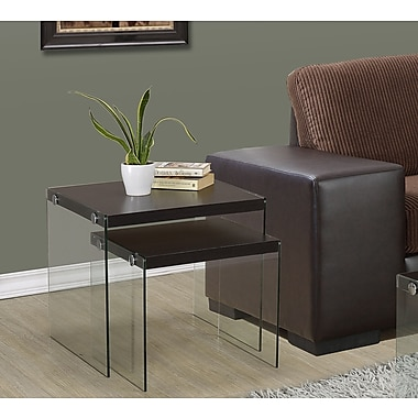 Monarch Tempered Glass Nesting Table Set, Cappuccino, 2/Pack