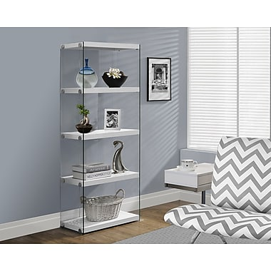 Monarch Hollow-Core/Tempered Glass Modern Bookcase, 60