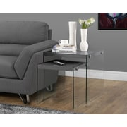 Monarch Hollow-Core/Tempered Glass Nesting Tables Set