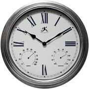 Infinity Instruments Silo 16'' Indoor and Outdoor Wall Clock with Thermometer and Hygrometer