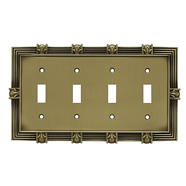 Franklin Brass Pineapple Quad Switch Wall Plate; Tumbled Antique Brass