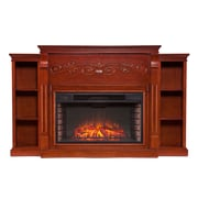 SEI Locksley Bookcase Wood/Veneer Electric Floor Standing Fireplace, Mahogany