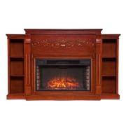 SEI Locksley Bookcase Wood/Veneer Electric Floor Standing Fireplace, Mahogany