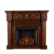 SEI Calvert Carved Wood/Veneer Electric Floor Standing Fireplace, Espresso