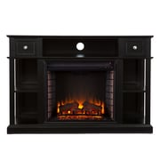 SEI Dayton Wood/Veneer Electric Floor Standing Fireplace, Black