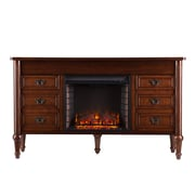 SEI Haverford Wood/Veneer Electric Floor Standing Fireplace, Whiskey Maple
