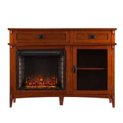 SEI Manchester Wood/Veneer Electric Floor Standing Fireplace, Brown Mahogany