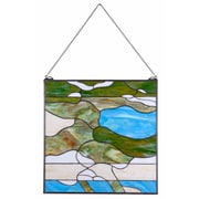 Kenroy Home Ocean Wave 32375BL 24 x 24 Glass Panel, Tiffany Glass