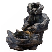 "Kenroy Home Log Pour 50054WDG 26.5"" Outdoor Floor Fountain, Wood Grain"