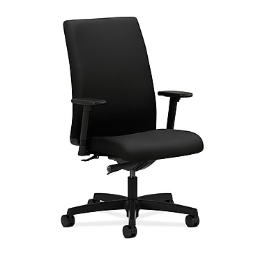 HON Ignition Mid-Back Task Chair, Upholstered, Synchro-Tilt, Adjustable Arms, Tectonic Black Fabric