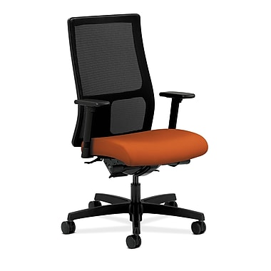 HON Ignition Synchro-Tilt Mid-Back Mesh Task Chair, Back Angle Adjustable Arms, Tangerine Fabric