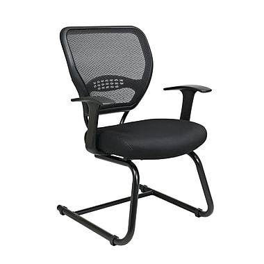 Space AirGrid Back Visitors Chair with Mesh Seat and Sled Base, Black