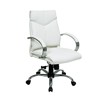 ProLine Deluxe Mid Back Executive Leather Chair, White