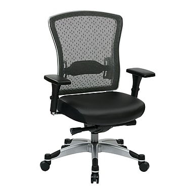 Space Professional R2 SpaceGrid Back and Eco Leather Seat Chair, Platinum, Black