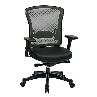 Space Professional R2 SpaceGrid Back and Eco Leather Seat Chair, Gunmetal, Black