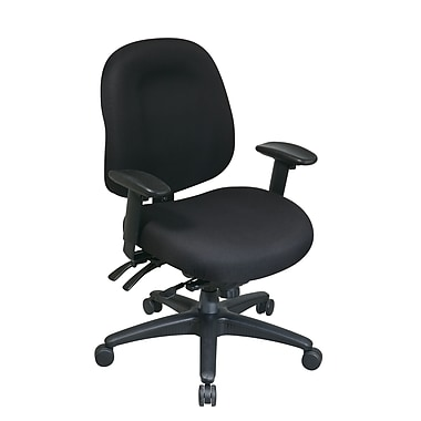 Pro-Line Multi-Function Mid Back Chair with Seat Slider, Black