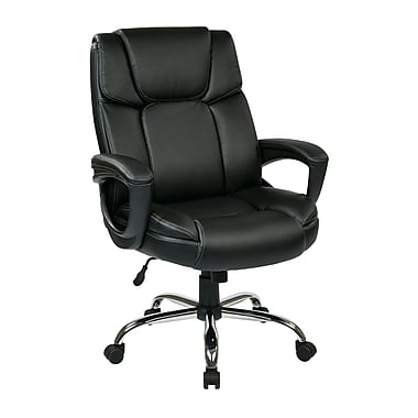 WorkSmart Executive Eco Leather Big Mans Chair, Supports up to 350 lbs, Black