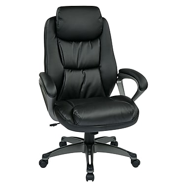WorkSmart Executive Eco Leather Chair with Coil Spring Seat, Black
