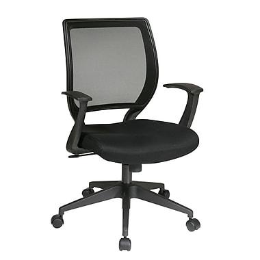 Office Star – Fauteuil de bureau WorkSmart avec dossier en mailles et accoudoirs en forme de T, noir