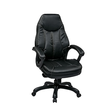 WorkSmart Oversized Executive Faux Leather Chair, Black