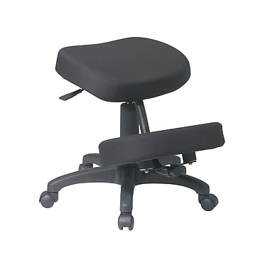 Work Smart Ergonomic Knee Chair with Memory Foam and Five Star Base, Black