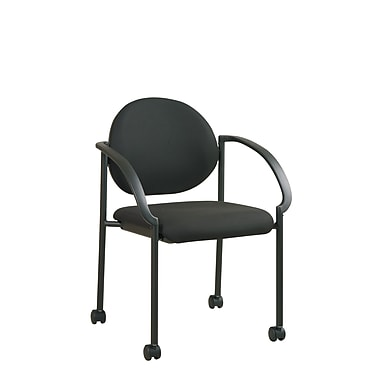 Work Smart Stacking Chair with Casters and Arms, Black