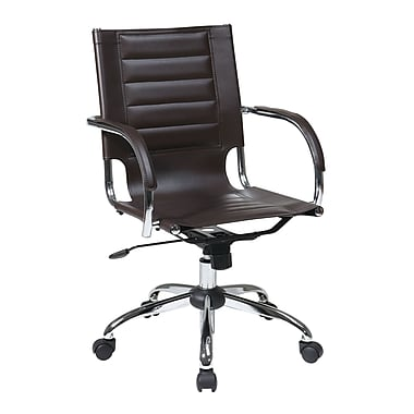 Office Star Trinidad Office Chair with Fixed Padded Arms, Espresso