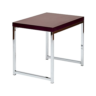 Wall Street End Table with Chrome Frame, Espresso