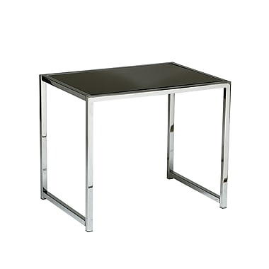 Yield End Table with Chrome Frame and Black Glass Top