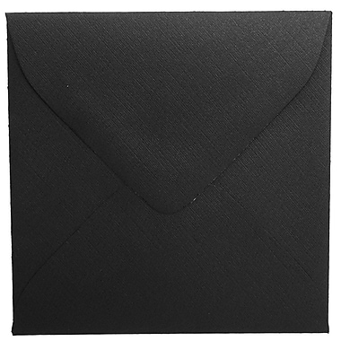 JAM Paper® 3.125 x 3.125 Mini Square Envelopes, Black Linen Recycled, 100/Pack (V01200A)