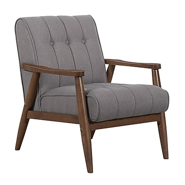 !nspire Wood Arm Fabric Chair, Grey