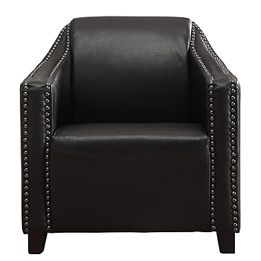 !nspire Bonded Leather Arm Chair with Studs, Black