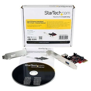 StarTech.com 2 port PCI Express SuperSpeed USB 3.0 Card with UASP Support, 1 Internal 1 External