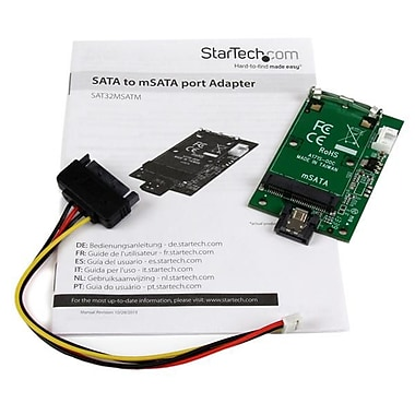 StarTech.com SATA to mSATA SSD Adapter, Port Mounted SATA to Mini SATA Converter Card