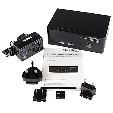 StarTech.com 2 Port DVI VGA Dual Monitor KVM Switch USB with Audio & USB 2.0 Hub