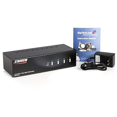 StarTech.com 4 Port DVI VGA Dual Monitor KVM Switch USB with Audio & USB 2.0 Hub