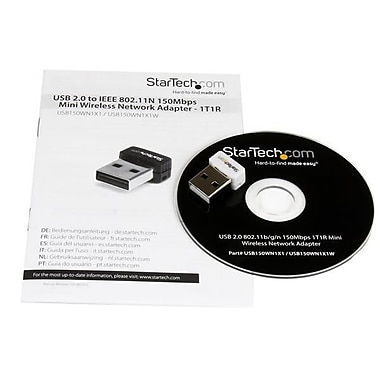 StarTech.com USB 150Mbps Mini Wireless N Network Adapter, 802.11n/g 1T1R USB WiFi Adapter, White