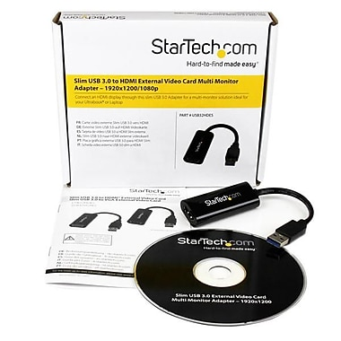 StarTech.com Slim USB 3.0 to HDMI® External Video Card Multi Monitor Adapter, 1920x1200 / 1080p