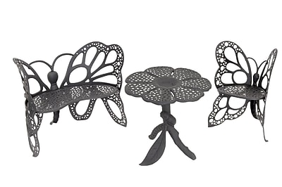 Flowerhouse Butterfly 3 Piece Bench Seating Group Set; Black WYF078276342031