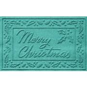 Bungalow Flooring Aqua Shield Merry Christmas Doormat; Aquamarine