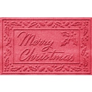 Bungalow Flooring Aqua Shield Merry Christmas Doormat; Solid Red