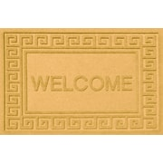 Bungalow Flooring Aqua Shield Greek Key Welcome Doormat; Yellow