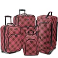 U.S. Traveler Camarillo 4 Piece Casual Luggage Set II; Pink / Brown