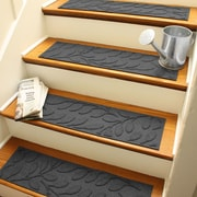 Bungalow Flooring Aqua Shield Charcoal Brittany Leaf Stair Tread (Set of 4)