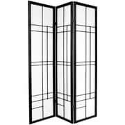 Oriental Furniture Eudes 3 Paned Room Divider; Black