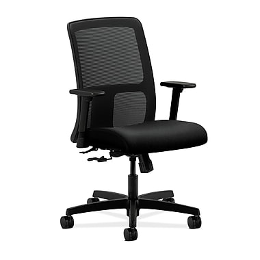 HON Ignition Center-Tilt Low-Back Mesh Task Chair with Adjustable Arms, Black Fabric