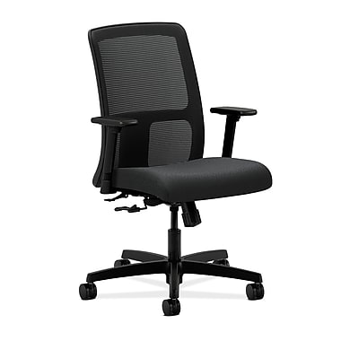 HON Ignition Low-Back Mesh Task Chair Center-Tilt with Adjustable Arms, Charcoal Fabric