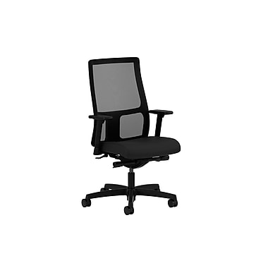 HON Ignition Adjustable Arms Low-Back Mesh Task Chair, Black Fabric