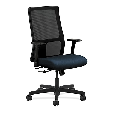 HON Ignition Mid-Back Mesh Task Chair Center, Tilt with Adjustable Arms, Blue Fabric