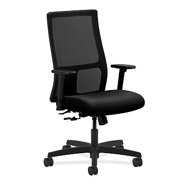 HON Ignition Mid-Back Mesh Task Chair Center, Tilt with Adjustable Arms, Black Fabric